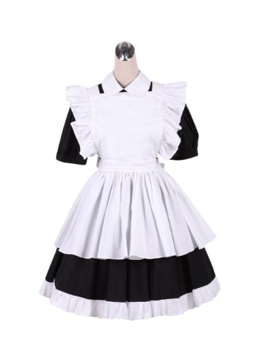 AvaLolita Short Sleeve Sweet Maid Cosplay Costumes Sets Apron Dress Outfits