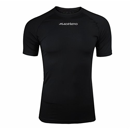 Hugesports Men's Short Sleeves Running Exercise Workout Fitness Baselayer Compression Shirt Black Medium