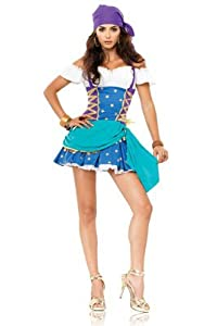 Leg Avenue Women's 2 Piece Gypsy Princess Off The Shoulder Halter Dress With Head Piece, Multi, Small/Medium