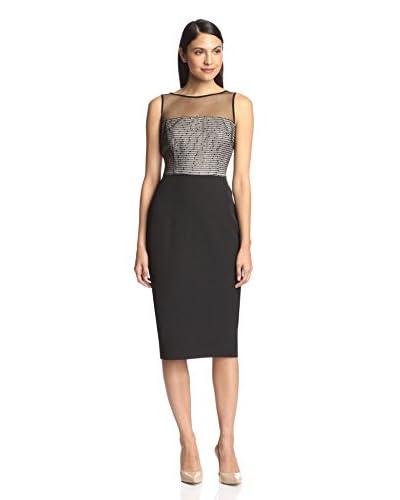 London Times Women's Sequin Mesh Sheath Dress