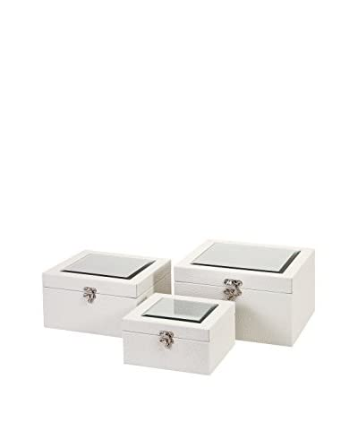 Set of 3 Nikki Chu Shagreen Boxes, White