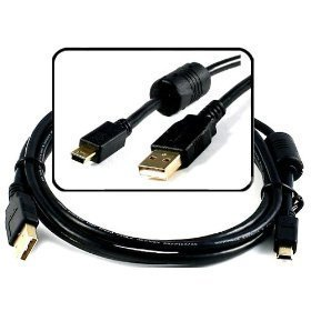 Gold-Series USB 2.0 Mini-B 5pin Digital Camera Interface Cable w/ Ferrite Cor.