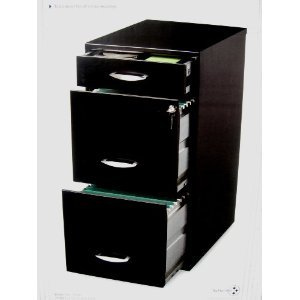 Black Three Drawer Filing Cabinet