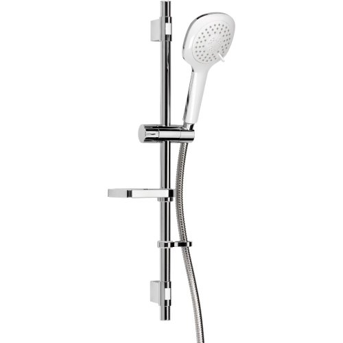 Croydex Linear 3 Function Flexi-Fit Shower Set Handset with Riser Rail and 1.5m Hose