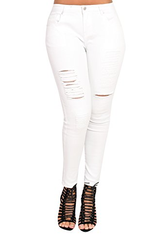 Women's Ladies White Ripped Torn Distressed Glam Casual Skinny Jeans