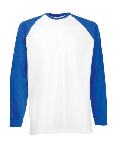 FOTL-Maglietta a maniche lunghe da Baseball Multicolore White/Royal Blue