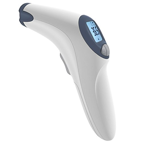 MeasuPro Termometro da fronte e di superficie senza contatto con allarme febbre personalizzabile, opzione silenziosa e grande schermo LCD, certificato CE e FDA