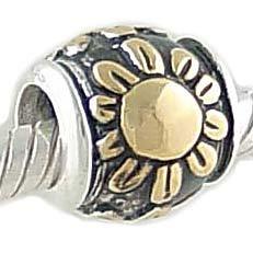 14K on Sterling Silver SUNFLOWER European Charm Bead for Bracelet