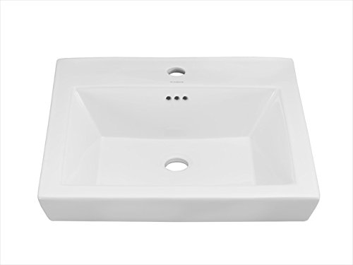 Square Tapered Ceramic Semi Recessed Vessel Bathroom Sink Faucet Mount: Single Hole