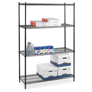 Images for Lorell Starter Shelving Unit, 4 Shelves/4 Posts, 36 by 24 by 72-Inch, Black