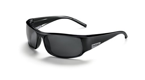 Bolle King Sunglasses, Shiny Black with Polarized T Lens