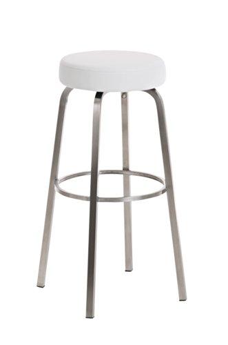 CLP runder Edelstahl Barhocker KAMARI, Sitzhöhe 85 cm, mit Kunstlederbezug - aus bis zu 11 Farben wählen - einfach bequem sitzen weiss