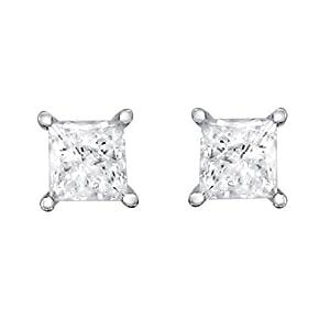 14k White Gold Princess-cut Solitaire Diamond Stud Earrings (1/2 cttw, IJ, I2) from La4ve Diamonds