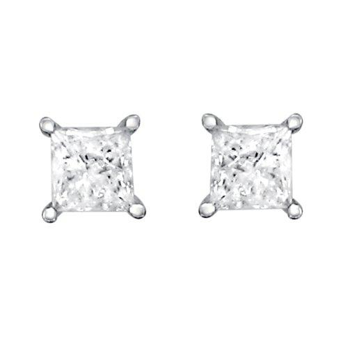 14k White Gold Princess-cut Solitaire Diamond