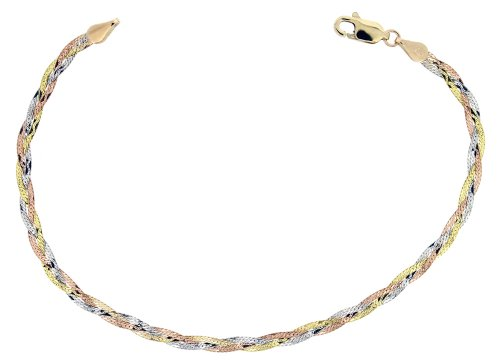 9ct Yellow, White & Rose Gold Bracelet 19cm