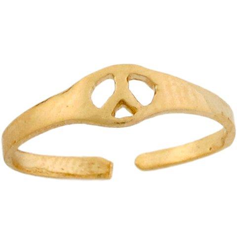 14k Real Yellow Gold Peace Symbol Sleek Toe Band