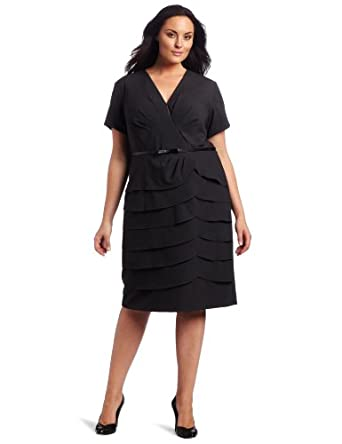 Jessica Howard Women's Plus-Size  Bi Stretch Shutter with Belt Dress, Charcoal, 14W
