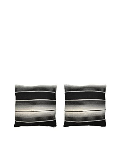 Uptown Down Found Set of 2 Mexican Blanket Pillows, Black/White