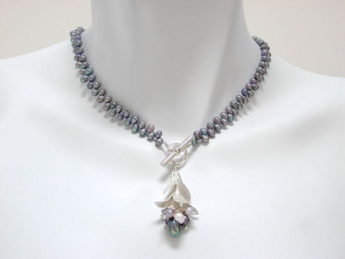 Peacock Freshwater Pearl Bud Cluster Necklace