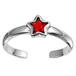 Sterling Silver Fashion Toe Ring - Star with Garnet CZ - 2mm Band Width