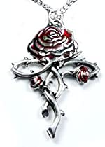 Rosycroix Silver-Tone Pewter Gothic Druid Immortality Rose Pendant Necklace
