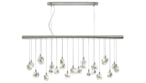 B003JGOJ3G LBL Lighting HS524CRSC76 Island Lights with Transparent Crystal Discs Shades, Satin Nickel Finish