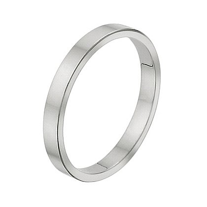 2.5 Millimeters Flat White Gold Wedding Band Ring 14Kt Gold, Style FSTF025MWW by Wedding Rings by Oromi, Finger Size 8