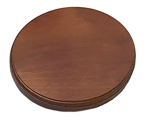 Luna Bean Wooden Platform Base Display Walnut Finish for Casting Kits - Solid Wood Plaque - Circular Round 6 (Tamaño: 6 Round)