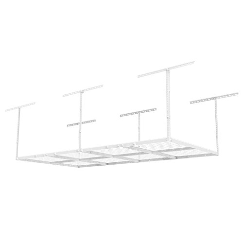"FLEXIMOUNTS 4x8 Overhead Garage Storage Rack Adjustable Ceiling Storage Rack Heavy Duty, 96"" Length x 48"" Width x (22-40"" Ceiling Dropdown), White"