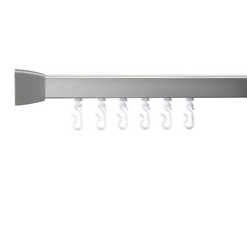 Croydex Professional Profile 800 L-Shaped Shower Rail with Ceiling Support  Hooks and Gliders, 76 x 167.5 cm,...