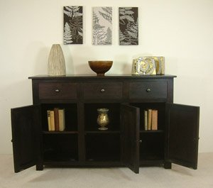 dark wood large three door sideboard kitchen home
