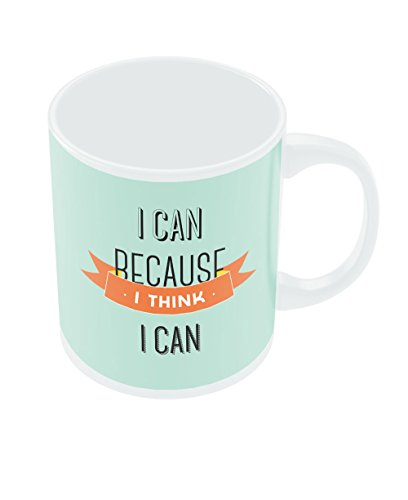 PosterGuy I Can Because I Think I Can Blue Typography Motivational Inspirational Ceramic Coffee Mug