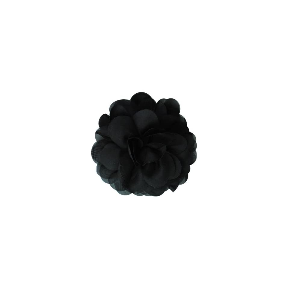 Tina Fashion Flower Fabric Brooch Pin Hair Clip   Black