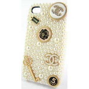 Great Price Sole Trader @ New Iphone 5 Protective Hard Case Swarovski Diamond White Pearl Skin Cover in Cream White