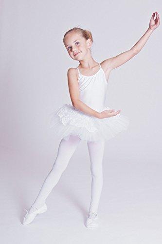 """tanzmuster Kinder Ballett Trikot mit Tutu """"Antonia"""" mit 3-lagigem Tüll und einer Lage Spitze. Ein zauberhaftes Ballettkleid für Mädchen in rosa, weiß, pink und rot."""