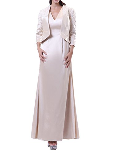 Cchappiness Women'S Ankle Length V-Neck Mother Of Bride Dresses With Jakcet Ivory Us 26