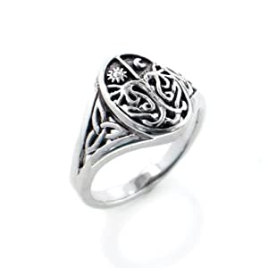 Celtic Trinity Knot Tree of Life with Sun and Moon Sterling Silver Ring(Sizes 3,4,5,6,7,8,9,10)