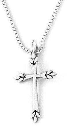 18 Inch Chain, Sterling Silver Leaf Tips Cross Pendant