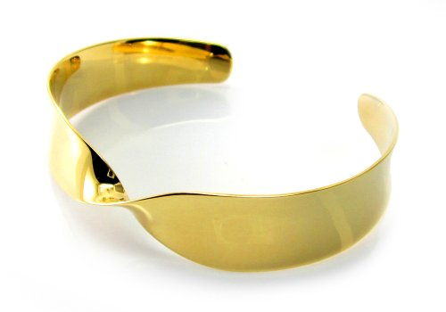MGD, 20 MM Wide Polished Finished Twisted Cuff / Bangle, Gold Tone Brass, Adjustable One Size Fit All, Fashion Jewelry for Women, JE-0091B