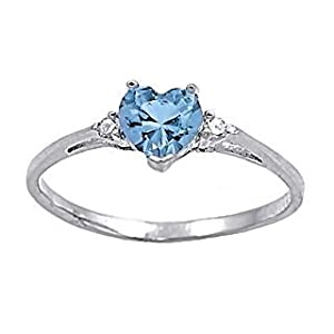 Sterling Silver 1.02ct Heart-cut Aqua Blue Ice on Fire CZ Promise Friendship Ring, Adonia size 7.0