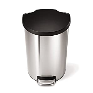 simplehuman Semi-Round Brushed Stainless Steel with Plastic Lid Step Can/Waste Bin, 40-Litre at Sears.com