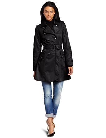 Low Price Jessica Simpson Women's Satin Double Breasted Full Skirt Rain Jacket