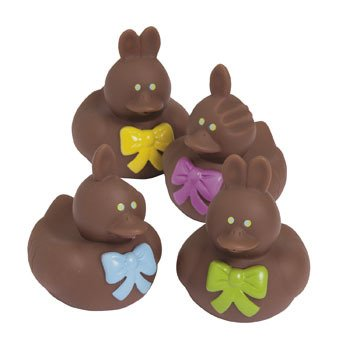 12 Ct - Chocolate Easter Bunny Rubber Duckies
