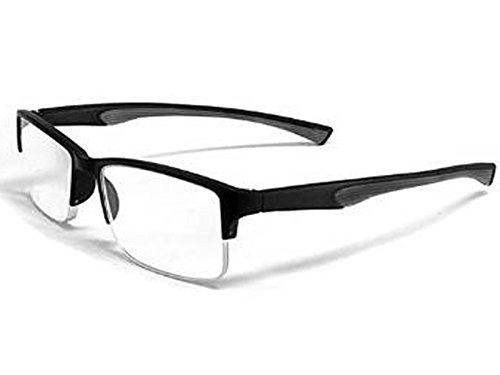 Calabria 6904 Semi-Rimless Flexie Reading Glasses in Grey ; +2.50 (Extra Wide Reading Glasses compare prices)