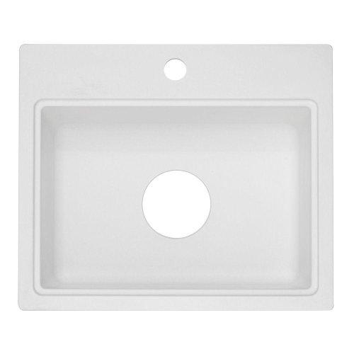 Yow- Dual Mount Granite 20X17X7 1-Hole Bar Sink In White Model# Aq10Wh