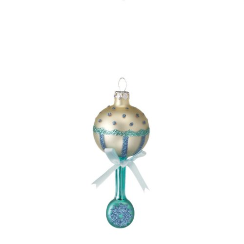 Glass Baby Blue Rattle Christmas Ornament #287163 - 1