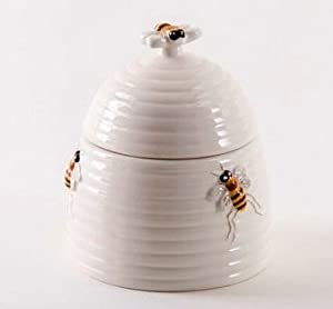 2-piece Set, Honey Bee Beehive Sugar Bowl & Lid, 5.5 Inch, Ceramic by Mary Lake Thomson