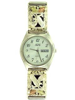 Exceptional Beauty! Sterling-silver Yellow-gold Nugget-style Onyx Eagle Watch & Band with American Eagle
