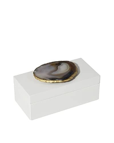 Mapleton Drive White Lacquer Box with Natural Agate