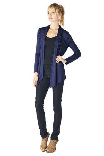 Women'S Rayon Span Super Comfortable Basic Cardigan - Navy S